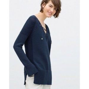 Zara Knit Blue Lace Up V-Neck Sweater